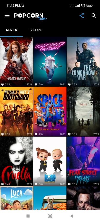 Popcorn Time app home interface