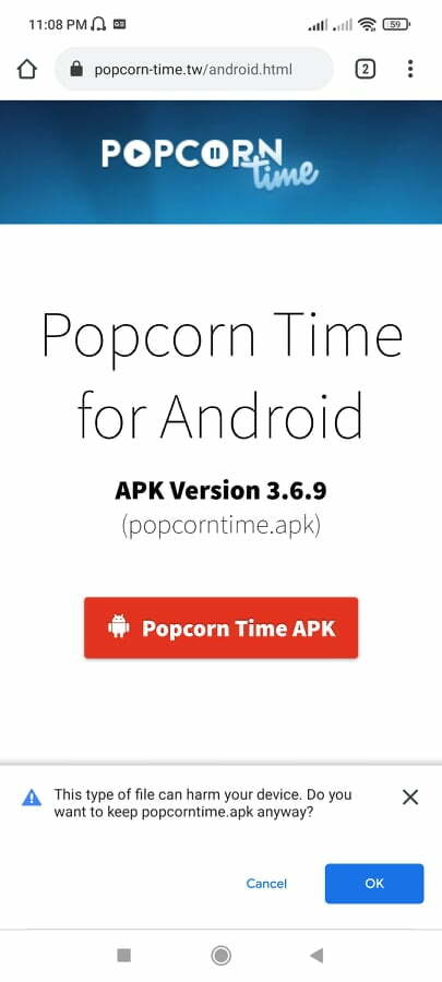 Popcorn time download from official website